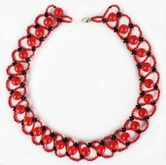 Free pattern for beaded necklace Pheromone      U need:  seed beads 11/0  round beads 8 mm  [ad name=