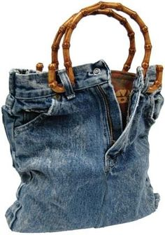 Jeans bag with bamboo handles
