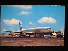 AMSTERDAM SCHIPHOL AIRPORT Royal Dutch Airlines KLM DC8 Old Airplane Postcard