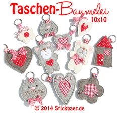 Taschenbaumelei In the Hoop designs Felt Crafts, Fabric Crafts, Diy Shrink Plastic Jewelry, Embroidery Designs, Diy Accessoires, Cross Stitch Pictures, Wool Applique, Felt Fabric, Key Fobs