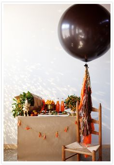 Love the balloon idea with things dangling-- tethered so it doesn't float away. Might be the solution to high ceilings.