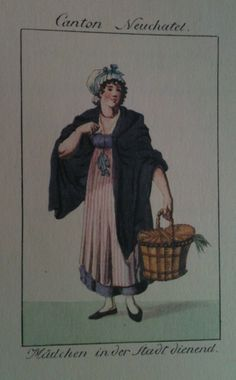 Photo taken from the 1980 reprint of Koenig and Lory's Costumes Suisses, published in 1811 and 1820 Regency Dress, Regency Era, Historical Women, Historical Clothing, Jane Austen, German Costume, Work Aprons, 19th Century Fashion, Fantasy Dress