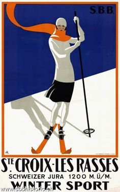 "Shop ""Ste Croix et Les Rasses"" Swiss Vintage Travel Poster created by PrimeVintage. Ski Vintage, Vintage Ski Posters, Art Deco Posters, French Posters, Vintage Sport, Retro Posters, Vintage Canvas, Vintage Winter, Vintage Prints"