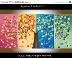 "Valentines Sale Original Large Acrylic landscape painting Impasto four seasons tree ""365 Days of Happiness"" by qiqigallery"