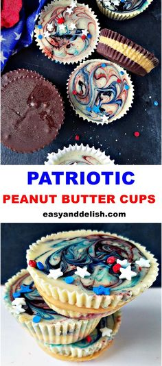 Patriotic Peanut Butter Cups for an easy and delish 4th of July dessert! Patriotic Desserts, 4th Of July Desserts, Fourth Of July Food, Easy Desserts, Whipped Peanut Butter, Homemade Peanut Butter Cups, Homemade Candies, Frozen Chocolate, Melting Chocolate
