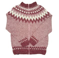 Pink Wool Sweater with zipper - White Pattern #lopapeysa #icelandicwool