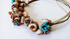 Revival delicate necklace handmade from polymer clay fimo in boho style
