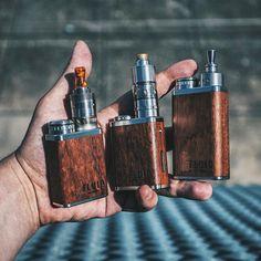 A trio of dinky boxes from @erotikpanda #vapeporn #vape #boxmods #woodenmods #woodmods #handcheck #vapelife #waketovape #bbv #brokeballervapes