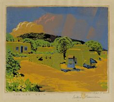 Gustave Baumann, from Germany to Brown County, Indiana to the Southwest; a printmaker who created wonderful images thru woodcut. Color choices that makes the viewer pause.