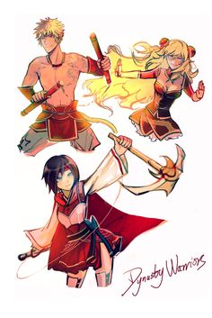 Dynasty Warriors: Sun, Ruby, and Yang (acclast) Rwby Anime, Rwby Fanart, Rwby Sun, Neon Katt, Character Inspiration, Character Design, Rwby Comic, Rwby Ships, Team Rwby