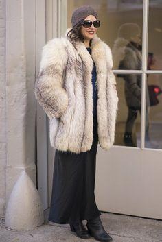 Latest Fashion Week Street style. Old school glamour at New York Fashion Week Fall 2015.