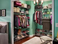 Floating Silver Steel Shoe Rack For Closet Under Clothes Shelves In Blue Wall