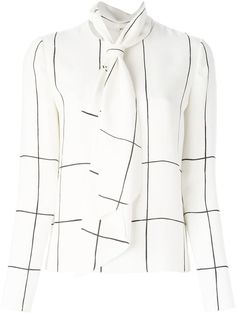 Tory Burch checked pussy bow blouse