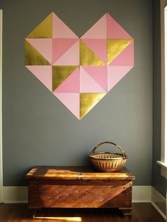 Geometric heart made out of scrapbook paper