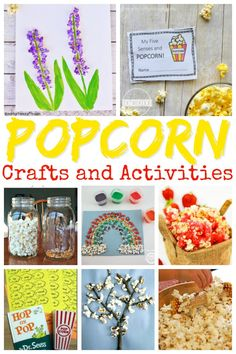 Lots of fun educational popcorn activities perfect for national popcorn day, preschool themes, and homeschooling families