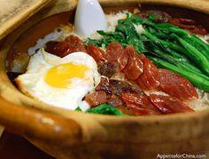 Clay Pot Rice & Cantonese Sausage    http://appetiteforchina.com/recipes/clay-pot-rice-cantonese-sausage/