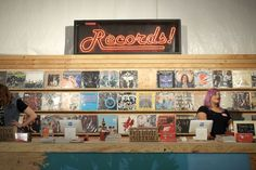Record shop counter and display