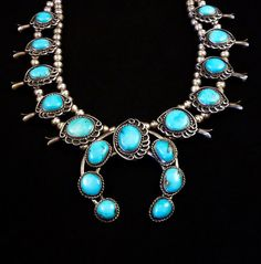 189g Vintage Navajo Sterling Silver Squash Blossom Necklace w Bright & Beautiful Blue Gem Turquoise! Wonderful Classic Design!