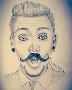 Man with mustache drawing