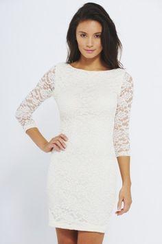 Lace Three Quarter Sleeve Dress