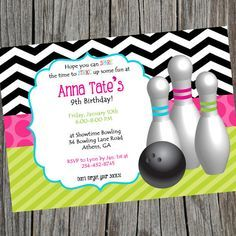 Girly Girl Bowling Birthday Party Invitation. Bright and Colorful bowling party invite. Printable Party Invitation Birthday Invite on Etsy, $9.10 CAD