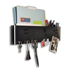 Fab.com | Sort It Out Stainless organizer: hooks, dry erase surface, pockets. One for work, one for home?