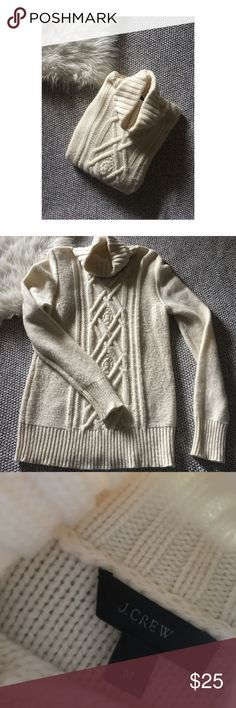J Crew Cambridge Turtleneck Sweater J Crew Cambridge Turtleneck Sweater. Cream color. Mild pillin from gentle wear throughout the sweater but still in good condition. Perfect for fall and winter. It is a wool blend material. Size Medium. J. Crew Sweaters Cowl & Turtlenecks