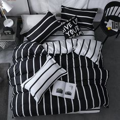Longji 2018 New Black White Classic Bedding Set Striped Duvet Cover White Bed Linen Set Geometric Flat Sheet Set Queen Bed Set Fashion New (Size : Queen