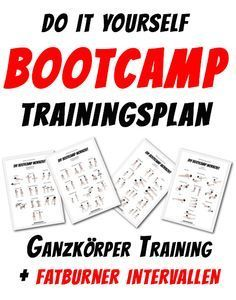 Trainingsplan zum abnehmen. Fitness Bootcamp Workoutplan. Leg Workout, Arm & Shoulder Workout, Core Workouts - Fitnessplan to get lean with Cardio-Intervall Workouts Freeletics Style