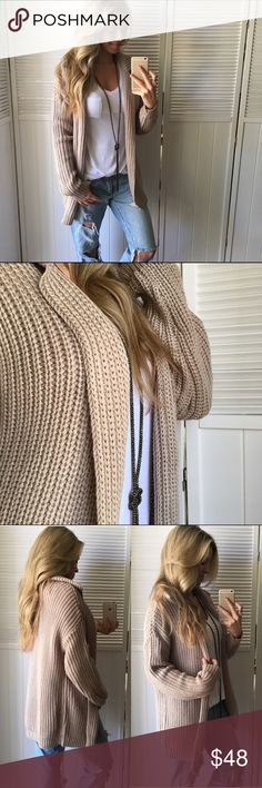 """🆕 Chai Loose Knit Sweater Jacket LOVE! ❤️ Favorite piece I'm adding today! It's so versatile and great all year long really. Uber Lightweight, loose knit ( breathable ) and the best everyday color.   •Modeling: Small •Fit: See First Comment  •Material: 100% Acrylic   Please use """"Self Checkout"""" if you aren't an Established Customer. Thank You 🙏🏼 Sweaters Cardigans"""
