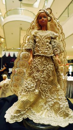 """Barbie dressed in a Pitoy Moreno original bridal gown. Hailed as """"The Fashion Czar of Asia"""" for taking Filipino fashion to the next level. This doll is sold for a whopping P150,000!"""