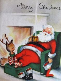 Vintage Christmas Card Santa & Deer Sitting In Front Of Fire National Detroit Vintage Christmas Images, Old Christmas, Christmas Scenes, Old Fashioned Christmas, Merry Little Christmas, Retro Christmas, Vintage Holiday, Christmas Pictures, Christmas Holidays