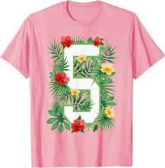 Amazon.com: Floral Number 5 Flower Five Gardener Summer Flowers T-Shirt: Clothing