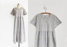 vintage 90s pale floral cotton empire waist dress /  M - L