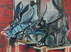 PABLO PICASSO  -  CHAT ET HOMARD, 1965 / Cat and Lobster, Oil on canvas, 73 x 100 cm, Fondation Beyeler, Basel.