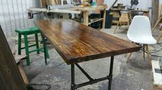 Reclaimed wood pipe desk