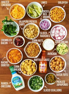 Set up your toppings bar! These are the toppings I like best, but you do you. | This Slow Cooker Chili Bar Will Make Your Super Bowl And Your Life