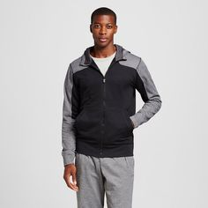 Men's Tech Fleece Color Block Full zip Hoodie Black 2XL - C9 Champion, Size: Xxl, Ebony