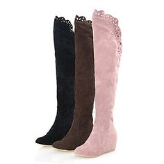 Suede Upper Low Heel Over The Knee Boots With Stitching Lace Honeymoon Shoes More Colors Available - USD $ 34.99