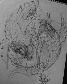 Koi Fish Drawing, Koi Fish Tattoo, Fish Drawings, Tattoo Drawings, Koi Tattoo Design, Tattoo Designs, Tattoo Ideas, Waves Sketch, Irezumi