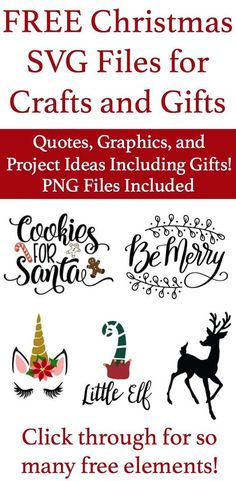 Get these free SVG files for Christmas crafts, cards, gifts, and more. #christmas #svg #DIYChristmasgifts via @momtoelise