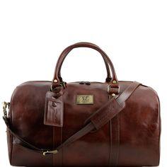 TL Voyager TL141247 Travel leather duffle bag with pocket on the back side large size - Borsa da viaggio in pelle con tasca sul retro misura grande - Tuscany Leather