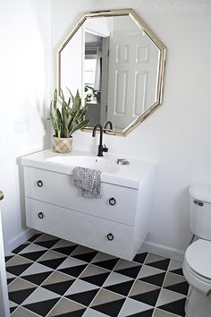 almost finished budget makeover with Goodwill mirror, Ikea Godmorgon vanity and vinyl sticker tile DIY - Cuckoo4Design