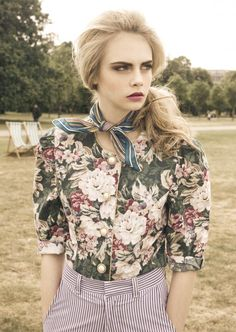 Model: Cara Delevingne - I don't usually like floral prints but this pairing of patterns in muted tones works.