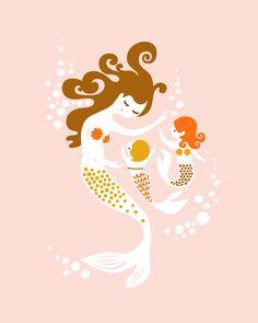 mama mermaid with two girls print #projectnursery #franklinandben #nursery