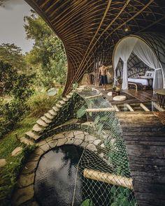 """Elora Hardy — IBUKU Studio on Instagram: """"Inside the Moon. Photo by  @gavinjvelasco. #ibukubali #bioarchitecture #ibukuhospitality"""" Whatsapp Text, Bamboo House, Jimbaran, Denpasar, Unique Architecture, Ubud, Day Trip, Sunrise, Paradise"""
