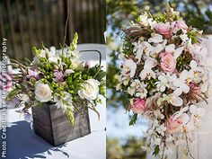 Rustic wedding centerpieces by Ingela Floral Design.