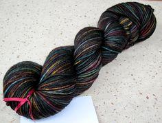Behemoth, 80/10/10 merino cashmere nylon DK weight yarn. $25.00, via Etsy.