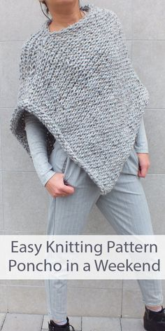 Knitting Pattern For Easy Beginner Poncho - Easy To Knit ! patron de tricot pour poncho facile pour débutant - facile à tricoter Poncho Knitting Patterns, Beginner Knitting Patterns, Knitted Poncho, Knitting For Beginners, Loom Knitting, Knitting Stitches, Knit Patterns, Free Knitting, Free Knit Poncho Pattern