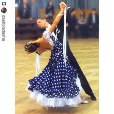 How fun! A beautiful navy and white polka dot ballroom dress. #dancesport #dance #ballroom
